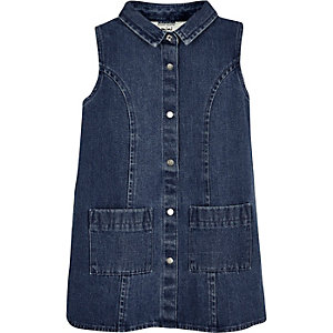 Mini girls dark blue denim shift dress