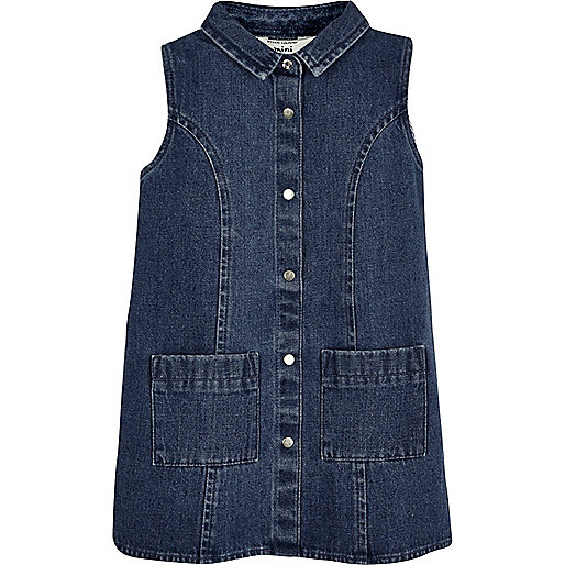 Mini girls dark blue denim shift dress