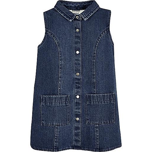 Robe droite en jean délavage bleu foncé mini fille