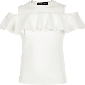 Girls cream frilly cold shoulder top
