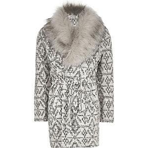 Girls beige faux fur belted jacket