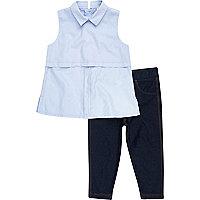 Mini girls blue shirt denim leggings outfit