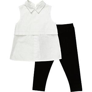 Mini girls white shirt black leggings outfit