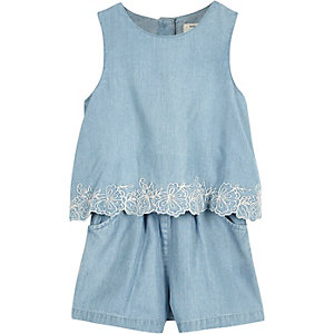 Mini girls blue denim Romper