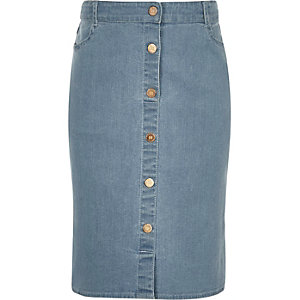 Girls blue denim pencil skirt