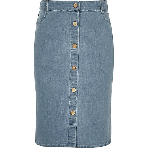Girls blue denim pencil skirt