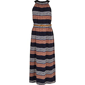 Girls blue stripe maxi dress