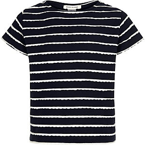 Girls navy stripe t-shirt