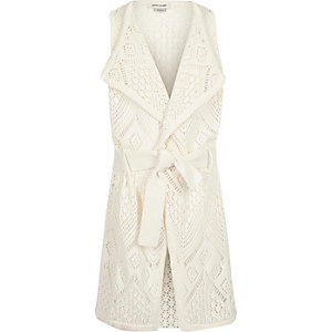 Girls cream waterfall cardigan