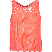 Girls coral knitted tank top