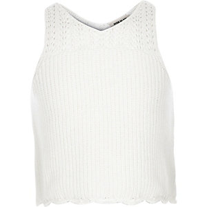 Girls white knitted tank top