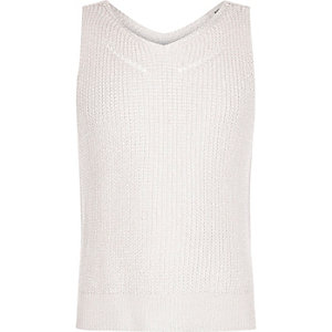 Girls pale pink metallic stitched tank top