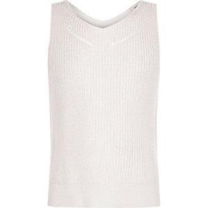 Girls pale pink metallic stitched tank top