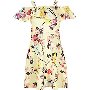 Girls yellow floral print bardot dress