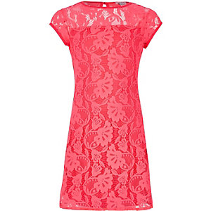 Girls coral pink lace dress