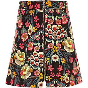 Girls pink floral print zip-up skirt