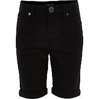 Girls black denim skinny knee shorts