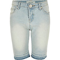 Girls light wash denim skinny knee shorts