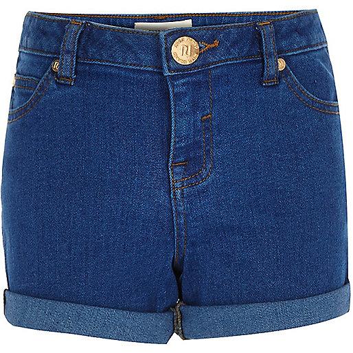 Girls bright blue denim shorts
