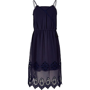 Girls navy lace trim midi dress