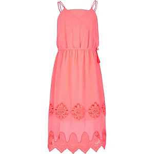 Girls coral lace trim midi dress
