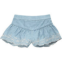 Mini girls light blue denim flippy shorts