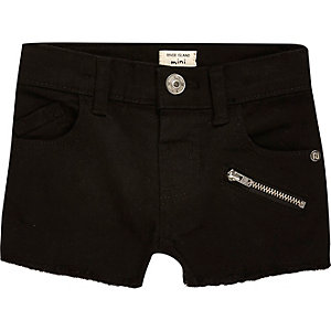 Mini girls black zip denim shorts