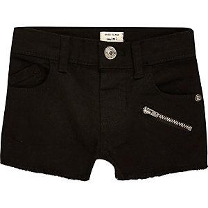 Mini girls black zip denim shorts