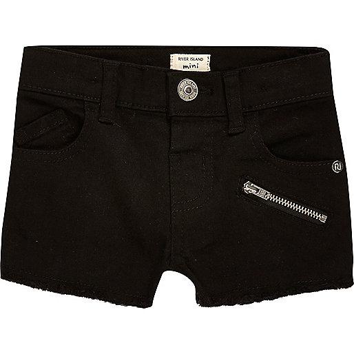 Short en jean noir zippé pour mini fille