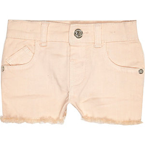 Mini girls light pink denim shorts