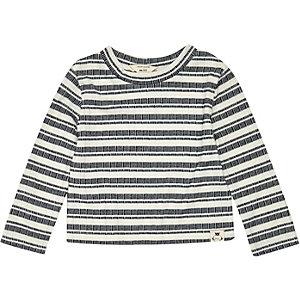 Mini girls blue stripe long sleeve top