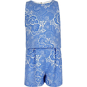 Girls blue floral print layer romper