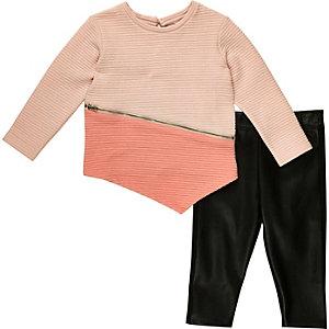 Girls pink sweatshirt leggings outfit
