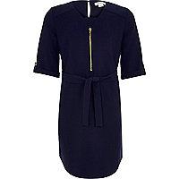 Girls navy belted shirt dress