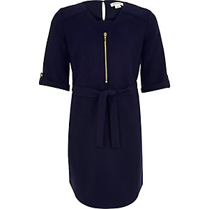 Girls navy belted shirt dress