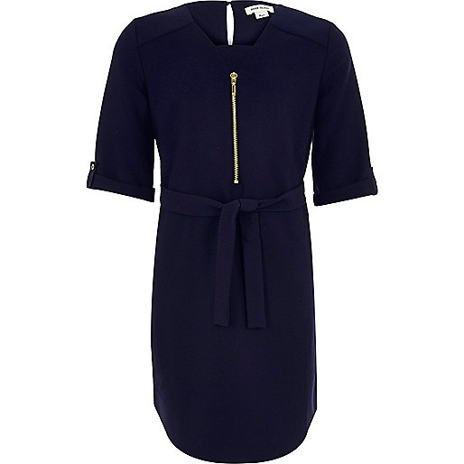 Robe chemisier bleu marine avec ceinture pour fille