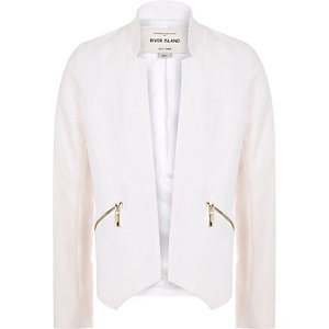 Girls cream smart blazer