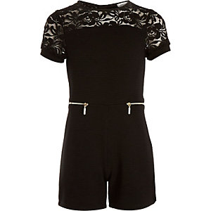 Girls black ribbed lace insert romper