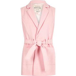 Girls pink belted sleeveless blazer