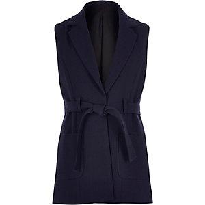 Girls navy belted sleeveless jacket