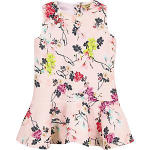 Mini girls beige floral print dress