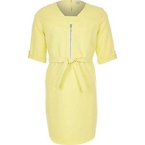 Girls yellow belted shirt dress