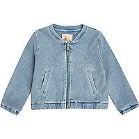 Mini girls denim look bomber jacket
