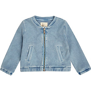 Mini girls denim look bomber jacket