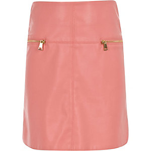 Girls pink leather-look A-line skirt