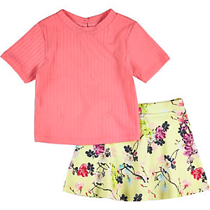 Mini girls coral pink top floral skirt outfit