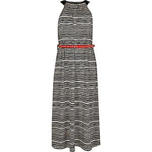 Girls black stripe maxi dress