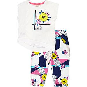 Mini girls white print joggers outfit
