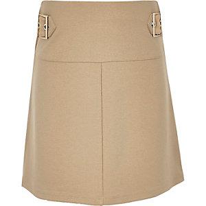 Girls beige double buckle skirt