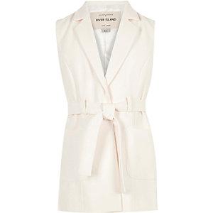 Girls cream belted blazer